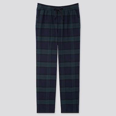 MEN FLANNEL EASY PANTS, DARK GREEN, medium