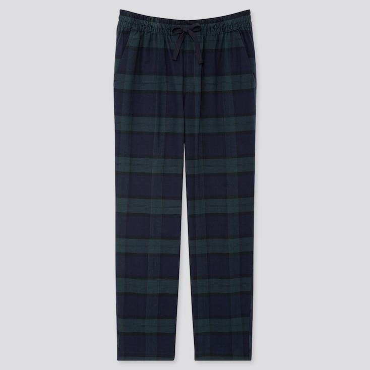Men Flannel Easy Pants, Dark Green, Large