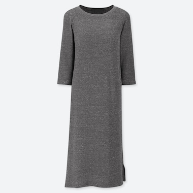 WOMEN RELAX LOUNGE 3/4 SLEEVE DRESS WITH PADDING, DARK GRAY, medium