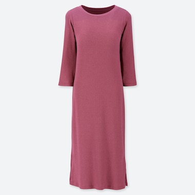 WOMEN RELAX LOUNGE 3/4 SLEEVE DRESS WITH PADDING, PINK, medium