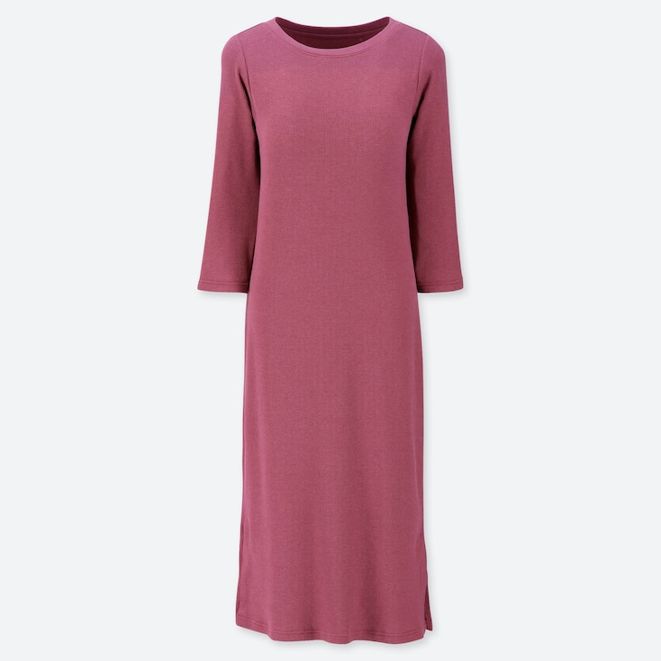 WOMEN RELAX LOUNGE 3/4 SLEEVE DRESS WITH PADDING, PINK, large