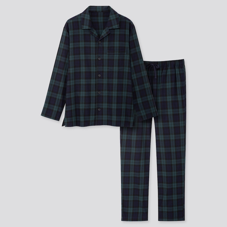 Men Flannel Long-Sleeve Pajamas, Dark Green, Large