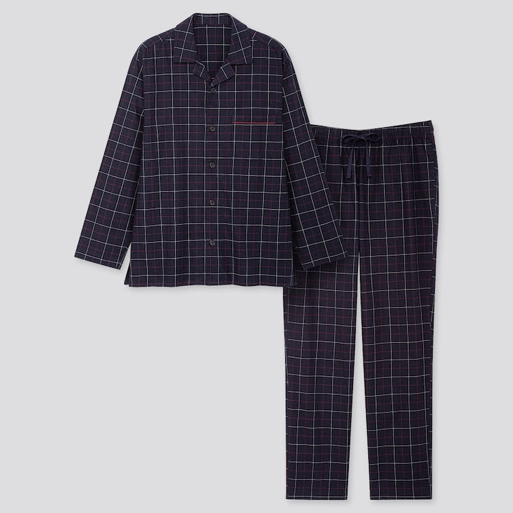 Men Flannel Long-sleeve Pajamas, Navy, Large
