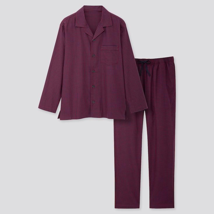 Men Flannel Long-sleeve Pajamas, Wine, Large