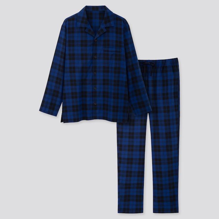 Men Flannel Long-sleeve Pajamas, Blue, Large