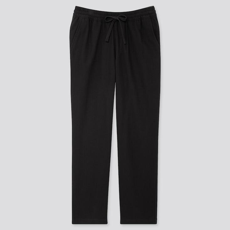 Men Flannel Easy Pants, Black, Large