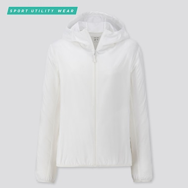 Women Pocketable Uv Protection Parka, Off White, Medium