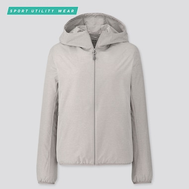 Women Pocketable Uv Protection Parka, Gray, Medium