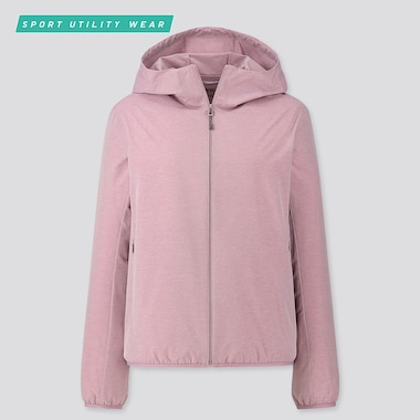 Women Pocketable Uv Protection Parka, Pink, Medium