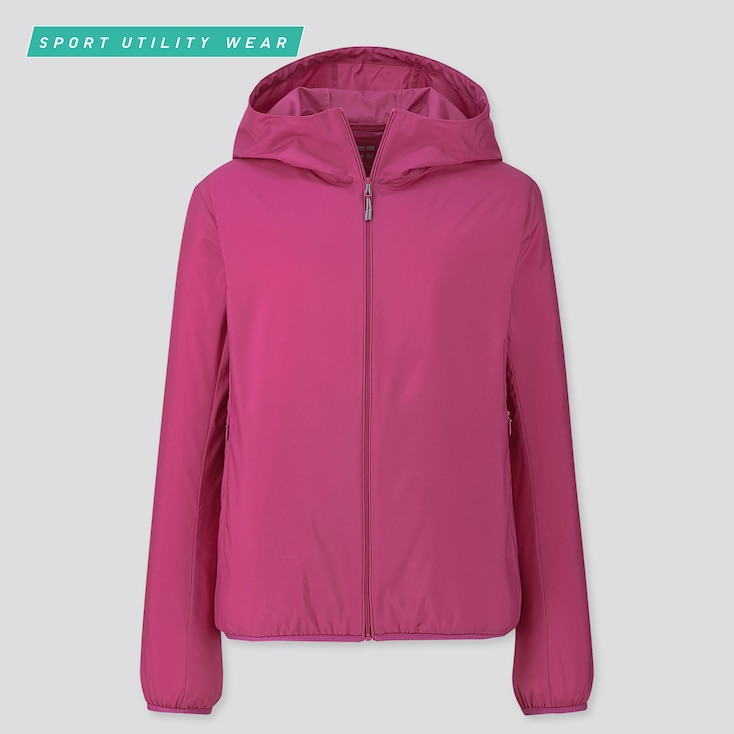 Women Pocketable Uv Protection Parka, Pink, Large