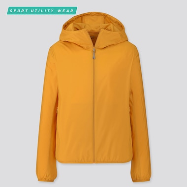 Women Pocketable Uv Protection Parka, Yellow, Medium