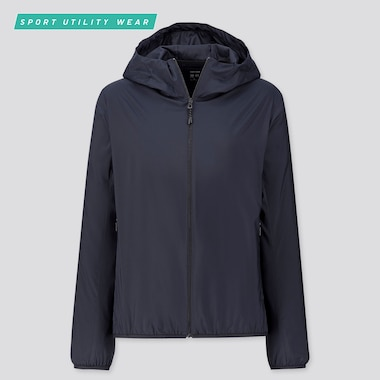 Women Pocketable Uv Protection Parka, Navy, Medium