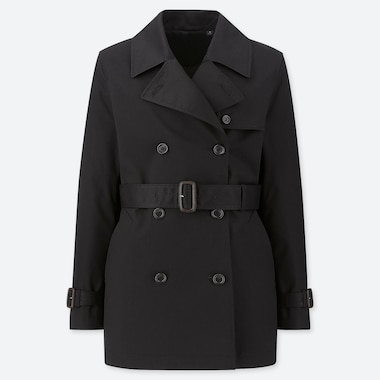 WOMEN SHORT TRENCH COAT (ONLINE EXCLUSIVE), BLACK, medium
