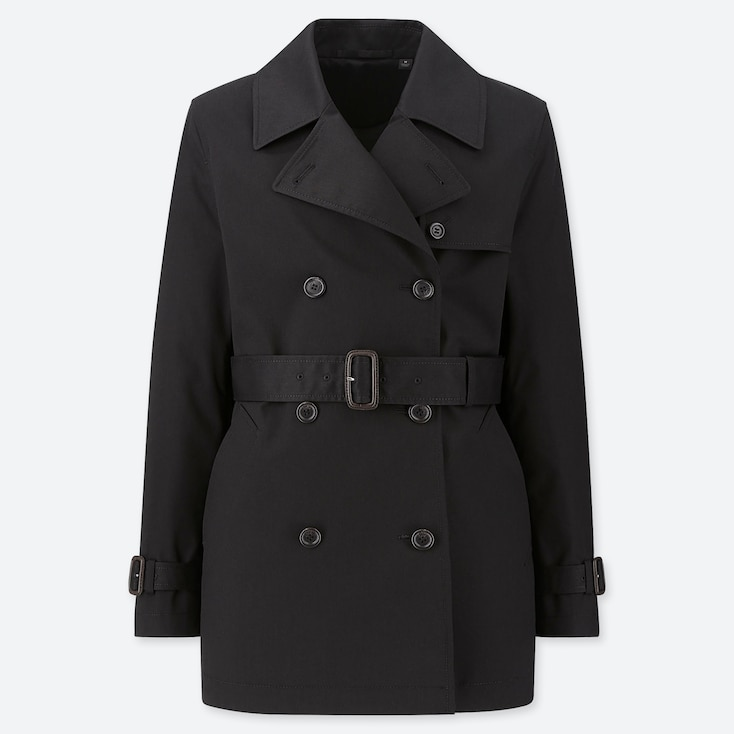 WOMEN SHORT TRENCH COAT (ONLINE EXCLUSIVE), BLACK, large