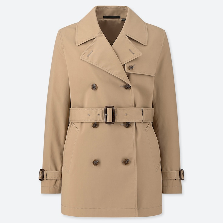 WOMEN SHORT TRENCH COAT (ONLINE EXCLUSIVE), BEIGE, large