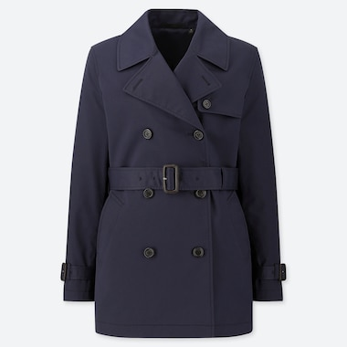 WOMEN SHORT TRENCH COAT (ONLINE EXCLUSIVE), NAVY, medium
