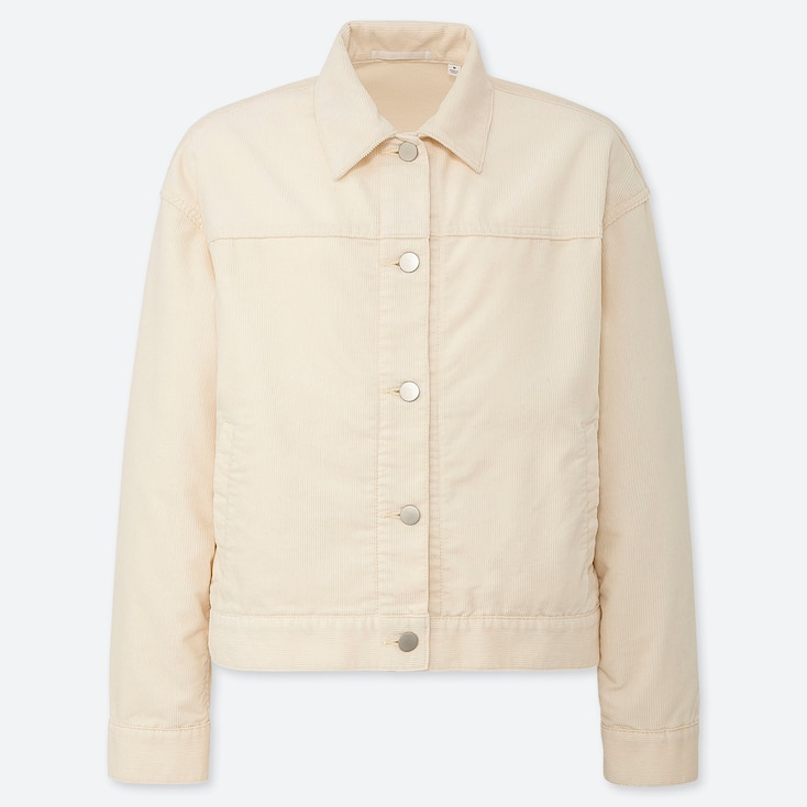 WOMEN CORDUROY OVERSIZE JACKET, OFF WHITE, large