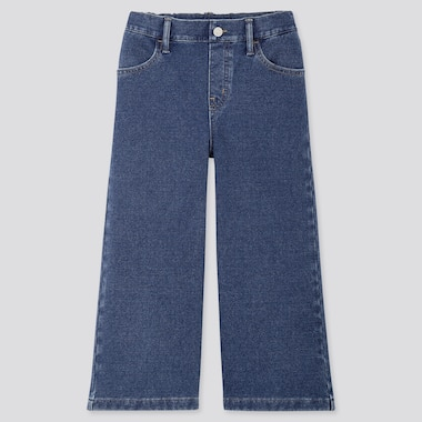 GIRLS DENIM WIDE CROPPED PANTS, BLUE, medium
