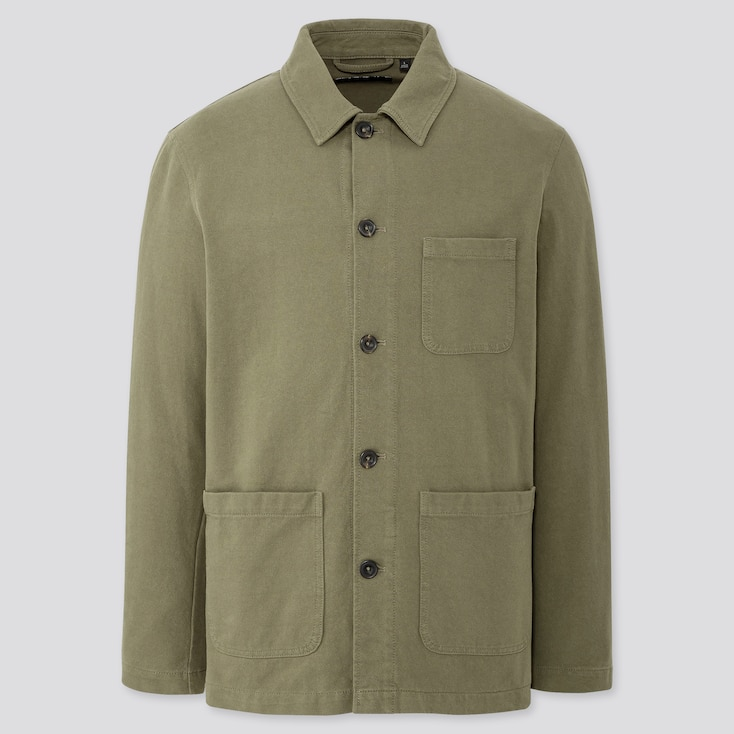 Men Washed Jersey Work Jacket, Olive, Large