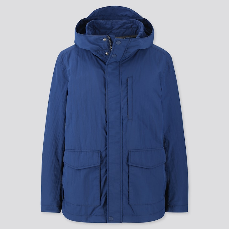 MEN JERSEY LINED FIELD PARKA, BLUE, large