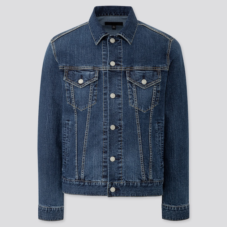 MEN DENIM JACKET, BLUE, large