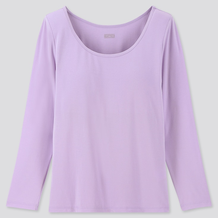 GIRLS HEATTECH BRA TOP T-SHIRT, LIGHT PURPLE, large