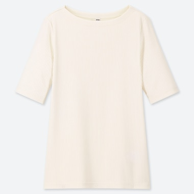 WOMEN RIBBED BOAT NECK HALF-SLEEVE T-SHIRT, OFF WHITE, medium