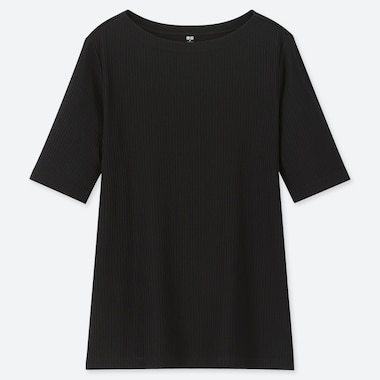Women Ribbed Boat Neck Half-Sleeve T-Shirt, Black, Medium