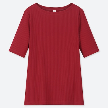 WOMEN RIBBED BOAT NECK HALF-SLEEVE T-SHIRT, RED, medium