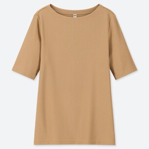 WOMEN RIBBED BOAT NECK HALF-SLEEVE T-SHIRT/us/en/women-ribbed-boat-neck-half-sleeve-t-shirt-419972.html