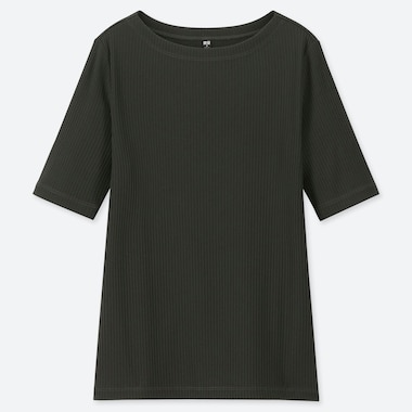 WOMEN RIBBED BOAT NECK HALF-SLEEVE T-SHIRT, DARK GREEN, medium