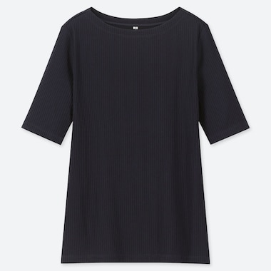 WOMEN RIBBED BOAT NECK HALF-SLEEVE T-SHIRT, NAVY, medium