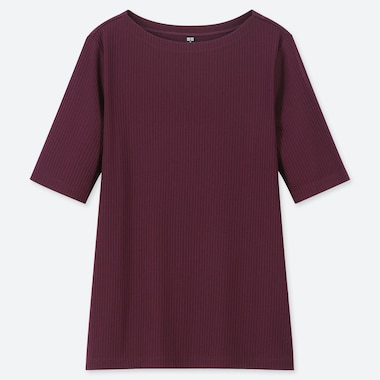 WOMEN RIBBED BOAT NECK HALF-SLEEVE T-SHIRT, PURPLE, medium