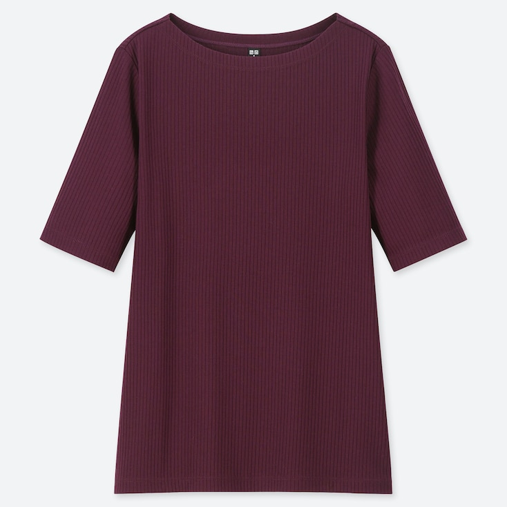 WOMEN RIBBED BOAT NECK HALF-SLEEVE T-SHIRT, PURPLE, large