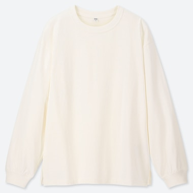 WOMEN COTTON RELAX FIT CREW NECK LONG-SLEEVE T-SHIRT, OFF WHITE, medium