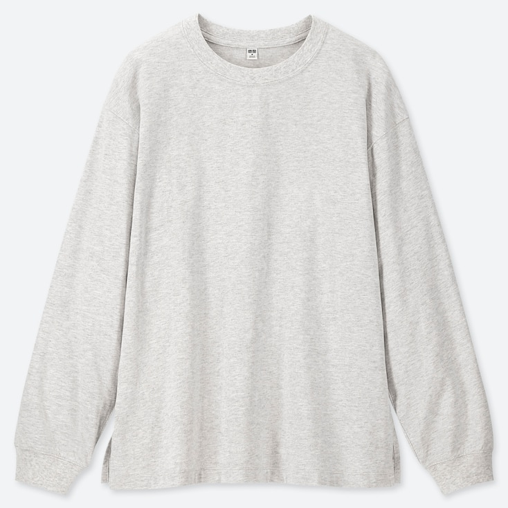 WOMEN COTTON RELAX FIT CREW NECK LONG-SLEEVE T-SHIRT, LIGHT GRAY, large