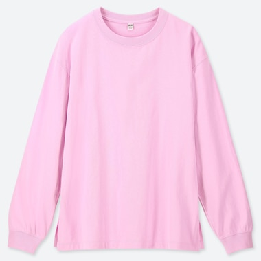 WOMEN COTTON RELAX FIT CREW NECK LONG-SLEEVE T-SHIRT, PINK, medium
