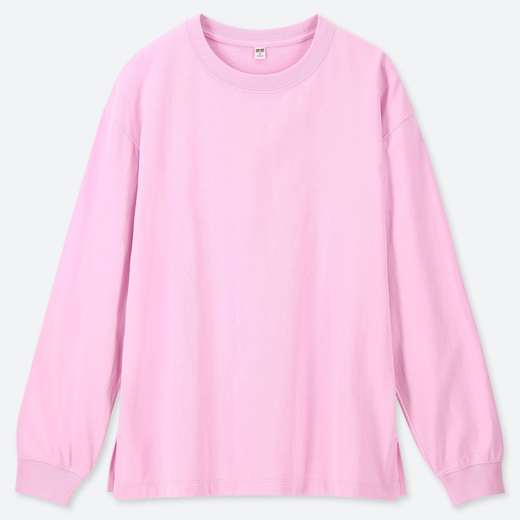 WOMEN COTTON RELAX FIT CREW NECK LONG-SLEEVE T-SHIRT, PINK, large