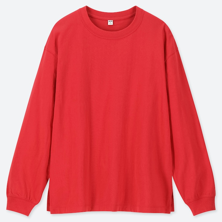 WOMEN COTTON RELAX FIT CREW NECK LONG-SLEEVE T-SHIRT, RED, large