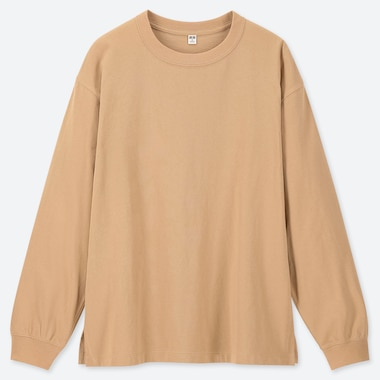 WOMEN COTTON RELAX FIT CREW NECK LONG-SLEEVE T-SHIRT, BEIGE, medium