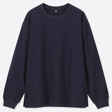 Women Cotton Relax Fit Crew Neck Long-Sleeve T-Shirt, Navy, Medium