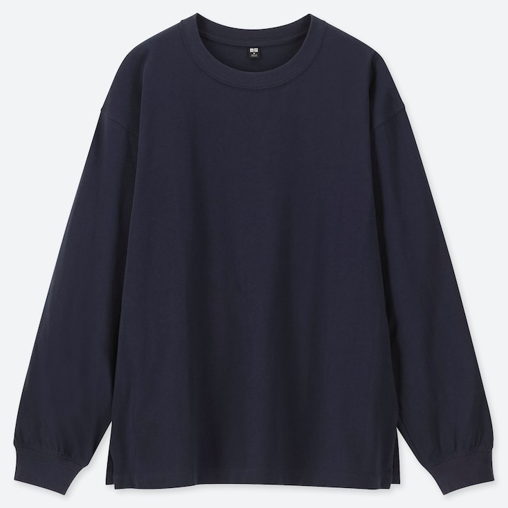 WOMEN COTTON RELAX FIT CREW NECK LONG-SLEEVE T-SHIRT, NAVY, large
