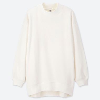 WOMEN LONG-SLEEVE MOCK NECK LONG SWEAT PULLOVER, OFF WHITE, medium