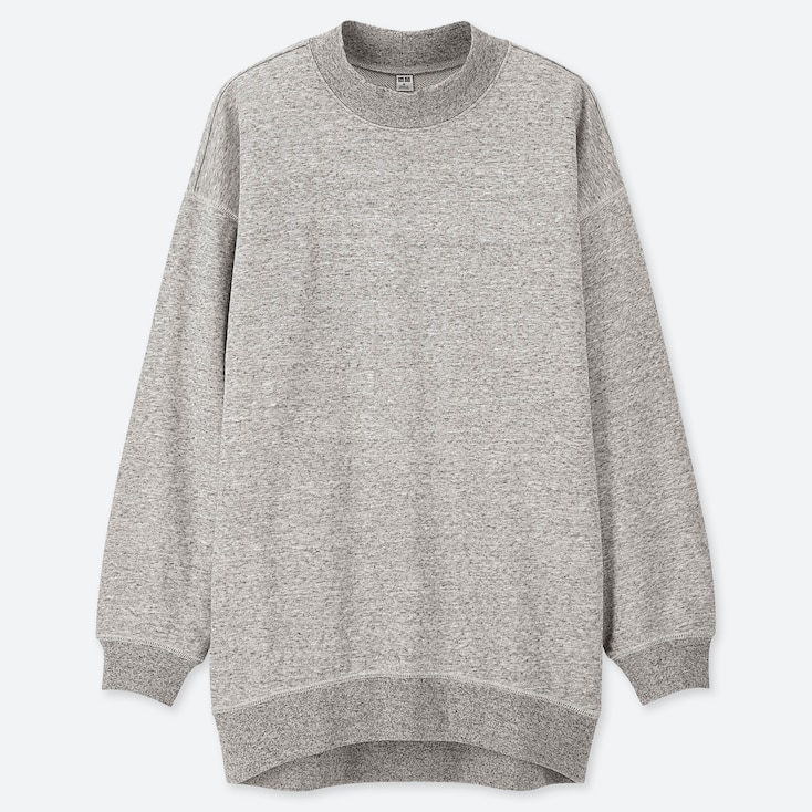 WOMEN LONG-SLEEVE MOCK NECK LONG SWEAT PULLOVER, GRAY, large