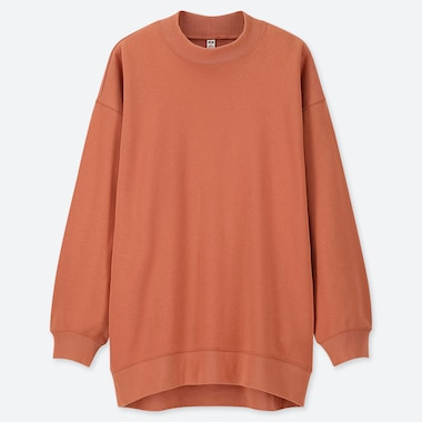 WOMEN LONG-SLEEVE MOCK NECK LONG SWEAT PULLOVER, ORANGE, medium