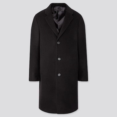 MEN WOOL CASHMERE CHESTERFIELD COAT, BLACK, medium