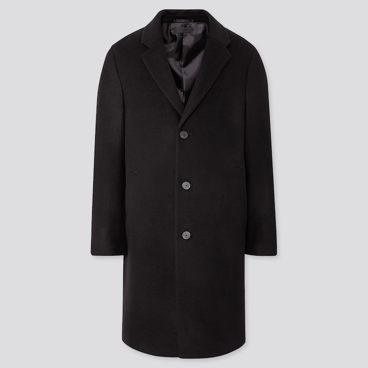 Men Wool Cashmere Chesterfield Coat, Black, Large