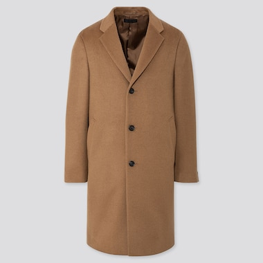 MEN WOOL CASHMERE CHESTERFIELD COAT, BROWN, medium