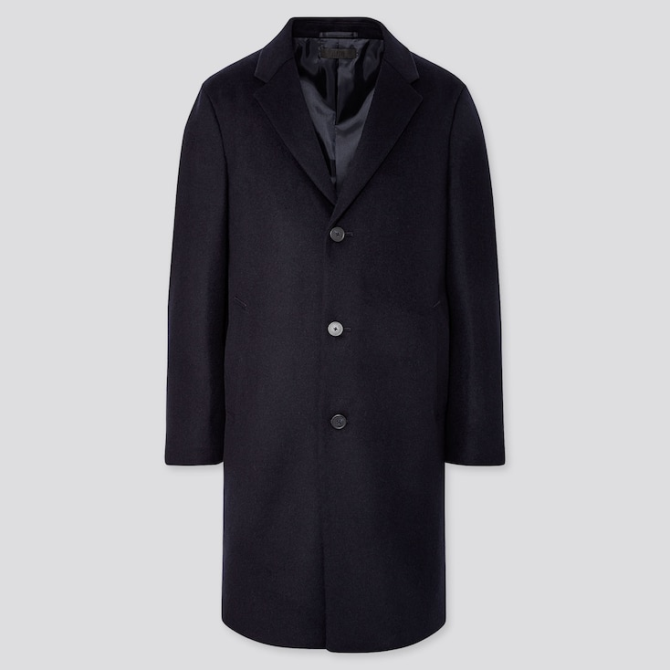 MEN WOOL CASHMERE CHESTERFIELD COAT, NAVY, large