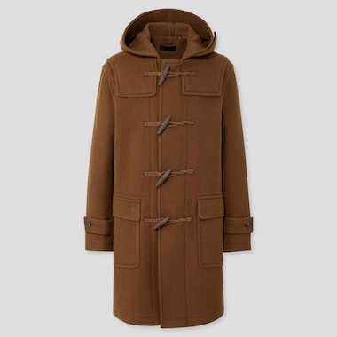 MEN WOOL-BLEND DUFFLE COAT, BROWN, medium